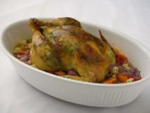 Pesto- Brathuhn mit Pfifferling- Semmel-Füllung und Gemüse - Rezept