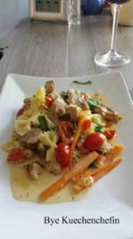 Schmetterlings-Pasta mit Putenstreifen und Mascarponesauce - Rezept