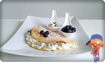 Pfannkuchen mit Mascarpone-Heidelbeeren  Füllung - Rezept