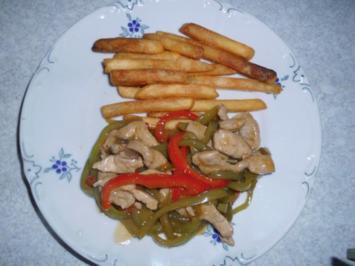 Schweineschnitzelstreifen mit Paprika in Soja-Sauce - Rezept