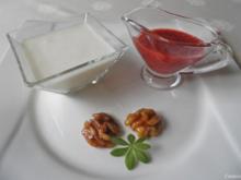 Birnen - Joghurt - Dessert, Marsala - Zwetschgen - Soße und karamelisierte Walnüsse ... - Rezept
