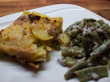 Grumbeer-Tortilla mit Pupssalat - Rezept
