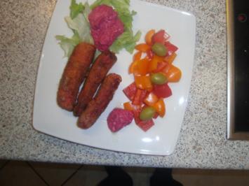 rote Streifen vom Riesenkalmar, eingelegt, paniert und fritiert - Rezept