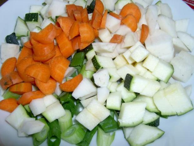 Kartoffelsalat mit Piri-Piri, Kokos, Zucchini, Mozarella und Walnüssen - Rezept - Bild Nr. 2