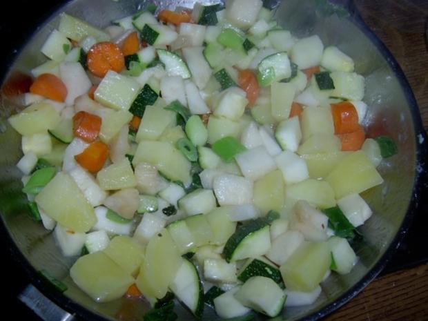 Kartoffelsalat mit Piri-Piri, Kokos, Zucchini, Mozarella und Walnüssen - Rezept - Bild Nr. 4