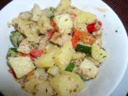 Kartoffelsalat mit Piri-Piri, Kokos, Zucchini, Mozarella und Walnüssen - Rezept