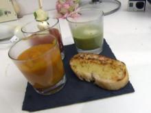 Suppendreierlei - dazu frische Knoblauch-Kräuter-Crostini (Anna Hofbauer) - Rezept