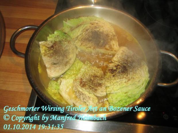 Gemüse – Geschmorter Wirsing Tiroler Art an Bozener Sauce - Rezept - Bild Nr. 3