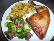 Rosenkohl - Maronen -  Salat  zu Hähnchenschenkel & Majoran - Bratkartoffeln - Rezept