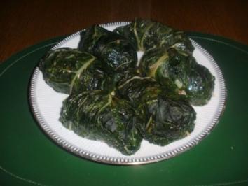 Geschmorte Mangold Päckchen und Hackbällchen auf Tomaten Sugo - Rezept