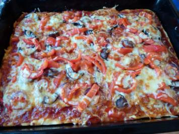 Pizza mit extra viel Belag - Rezept