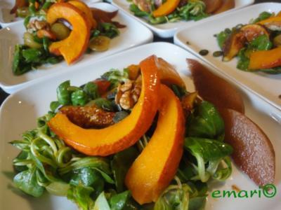 eleganter Herbst Salat mit Kürbis - Rezept