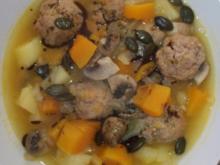 Bunter Herbsteintopf mit Kürbis, Kartoffel, Champignons und Fenchel - Rezept