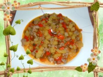 Hack : Hack - Kartoffel - Paprika -  Pfanne - Rezept