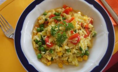 Wok-Hähnchen-Gemüse-Curryreis - Rezept