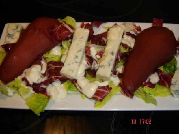 Trevisor mit Gorgonzola und Rotweinbirne - Rezept