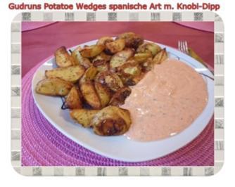 Rezept: Kartoffeln: Potatoe Wedges spanische Art mit Knobi-Dipp