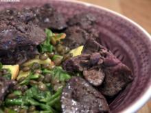 Puy-Linsen-Apfel-Salat mit Geflügelleber - Rezept