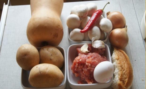 Buletten mit Rahmchampignons und Kürbis-Kartoffelstampf - Rezept - Bild Nr. 2