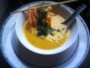 Karotten-Coco-Creme-Suppe mit Garnelen - Rezept