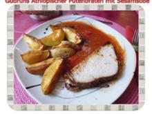 Geflügel: Äthiopischer Putenbraten mit Kartoffelspalten und Tomaten-Sesamsoße - Rezept