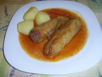 Gelbe Spitzpaprika mit Kräuterhack an Salzkartoffeln - Rezept
