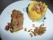 Balkan - Hackbraten zu Kartoffel - Steckrübenstampf + Oktobersalat - Rezept
