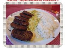 Vegetarisch: Tempeh-Medaillons mit Reis und Lauchsahne - Rezept