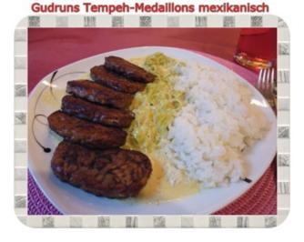 Rezept: Vegetarisch: Tempeh-Medaillons mit Reis und Lauchsahne