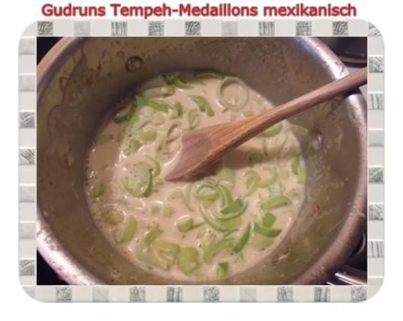 Vegetarisch: Tempeh-Medaillons mit Reis und Lauchsahne - Rezept - Bild Nr. 11