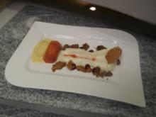 In Lavendelsud pochierter Pfirsich, Kalamansisorbet, Vanilleespuma - Rezept