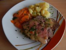 Schweinebraten  mit Sesam-Honig-Kruste  und Möhrengemüse - Rezept