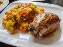 Putenschnitzel gefüllt dazu Gemüse-Curry-Reis - Rezept