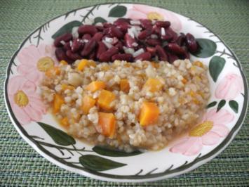 Buchweizen gekocht und Bohnenalat - Rezept