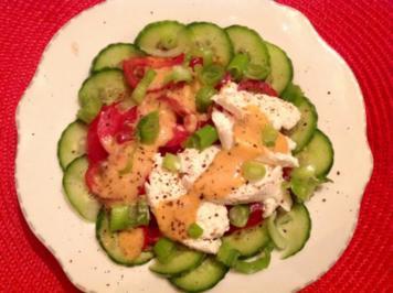 Tomaten-Gurken-Salat mit Mozzarella und Cherimoya-Dressing - Rezept