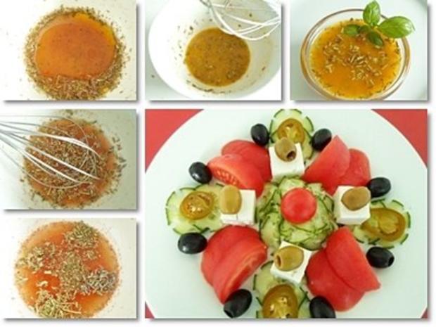 Schafskäse Salat mit Italienischer Kräuter- Vinaigrette nappiert. - Rezept - Bild Nr. 15