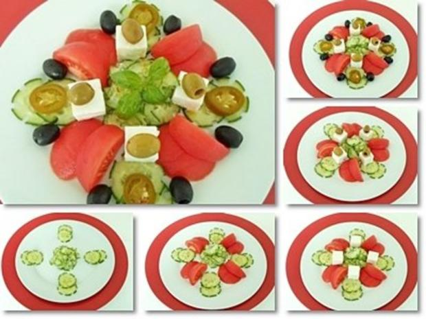Schafskäse Salat mit Italienischer Kräuter- Vinaigrette nappiert. - Rezept - Bild Nr. 22