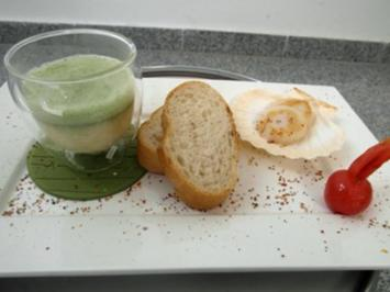 Weiße Tomatensuppe mit Basilikumschaum und Jakobsmuscheln - Rezept