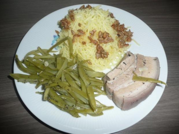 Schweinebauch, saure Bohnen und Kartoffelschnee. - Rezept