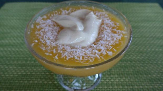 Dessert : Mangomus an Vanilie-Quark nach Budwig - Rezept