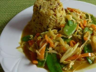 Wok - Gemüse an Naturreis mit Kurkuma - Rezept