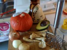 Kürbis-Pastinaken-Avocadosupperl - Rezept
