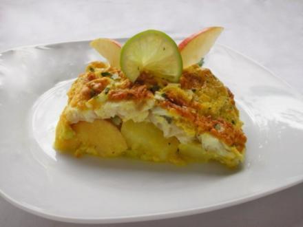 Fischfilet im Apfel-Kartoffelbett mit Curryhaube - Rezept