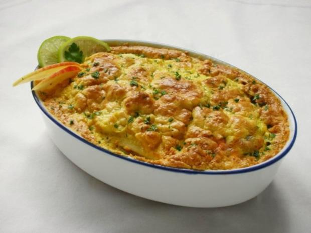Fischfilet im Apfel-Kartoffelbett mit Curryhaube - Rezept - Bild Nr. 2