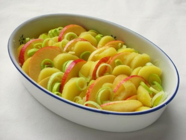 Fischfilet im Apfel-Kartoffelbett mit Curryhaube - Rezept - Bild Nr. 7