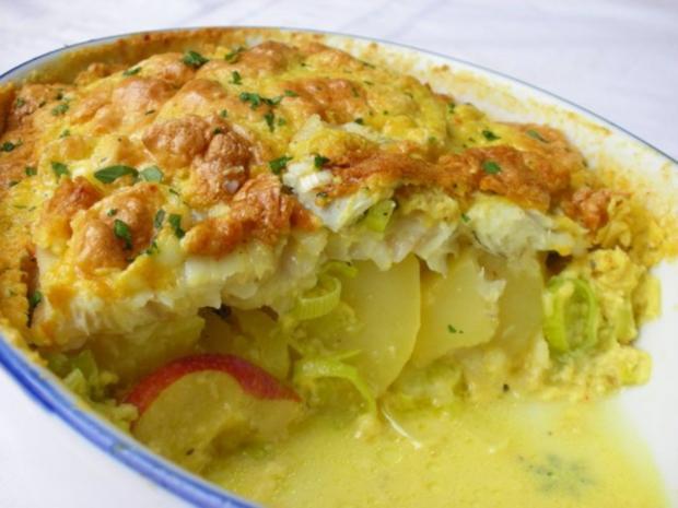 Fischfilet im Apfel-Kartoffelbett mit Curryhaube - Rezept - Bild Nr. 11