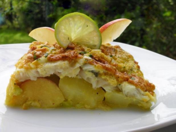 Fischfilet im Apfel-Kartoffelbett mit Curryhaube - Rezept - Bild Nr. 12