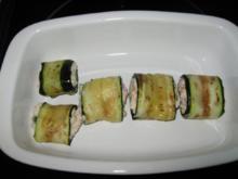 Vorspeise: Zucchini-Röllchen mit Frischkäsefüllung - Rezept