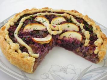 Rotkraut Kuchen mit Entenfleisch - Rezept