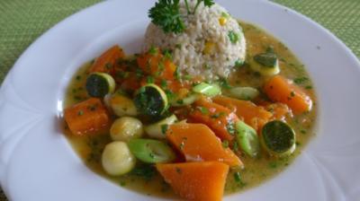 Rezept: Geschwenktes Gemüse an gemischtem Reis